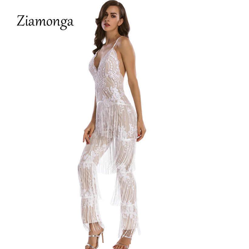 Zionga/Новинка 2017 года; шикарные модные женские Вечерние боди с v-образным вырезом и кисточками, украшенные блестками; оптовая продажа; женский комбинезон с кисточками