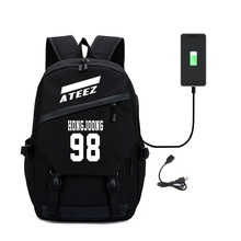 Kpop Ateez Backpack Student Backpack with USB Charging Port Canvas College