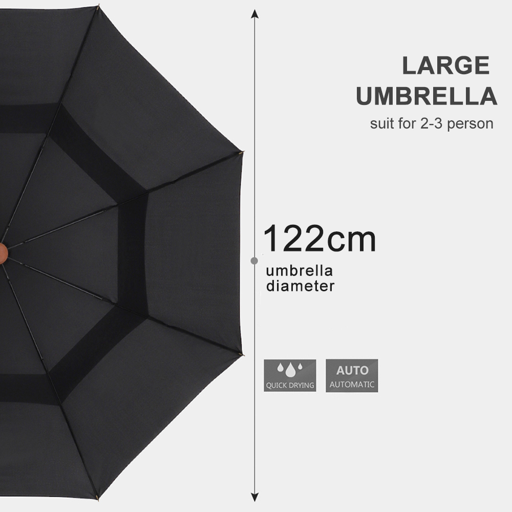 Parachase Large Long Umbrella Rain Men Women Wooden Handle Double Layer Windproof Japanese Umbrella 8K Paraguas Big Umbrellas in Umbrellas from Home Garden