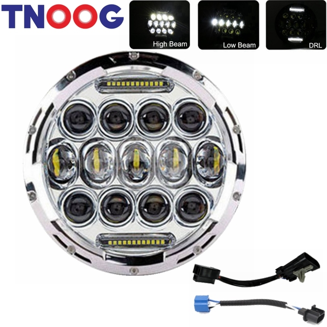 """TNOOG 1pcs 7"""" Round Motorcycle LED Projector Headlight Head Lamp Bulb Fits for Harley Davidson Jeep Wrangler"""