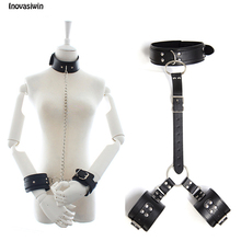лучшая цена Women Sexy Lingerie Leather Bondage Restraints Slave Neck Collar To Handcuffs Fetish Bdsm Adult Sex Toys for Couple Erotica Toys