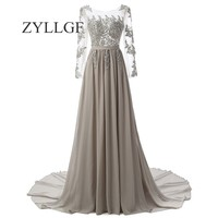 ZYLLGF Sexy Long Sleeve Bridesmaid Dresses Princess Boat Neck Appliques Beaded Formal Party Gowns Chiffon Dresses ZY12