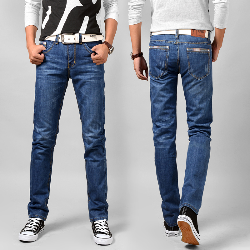 2017 new seasons high quality fashion classic elastic cotton jeans fit straight jeans