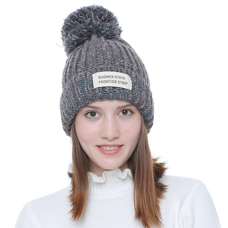 4728bc32a Knitted Women Beanies With Pompon Winter Female Beanie Casual Hats ...