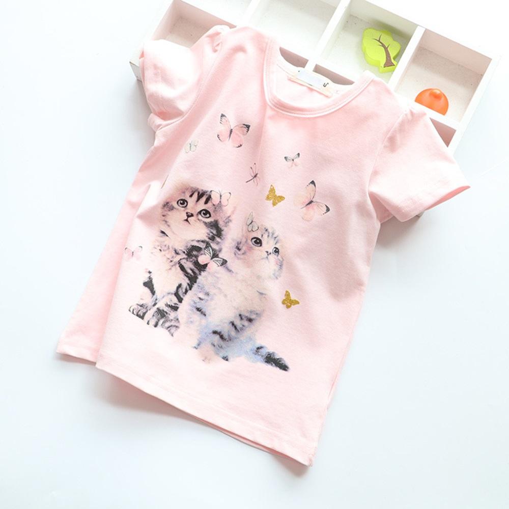 New Cotton Kids T-Shirt Children Summer Short Sleeve T-Shirts for Girls Clothes Cat Rabit Butterfly Baby T Shirt Toddler Tops 11