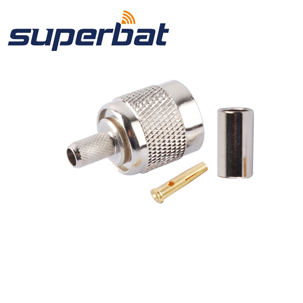 Superbat 10pcs Free Shipping RP-TNC Crimp Plug(Female Pin) RF Coaxial Connector For Cable RG58 RG142,LMR19