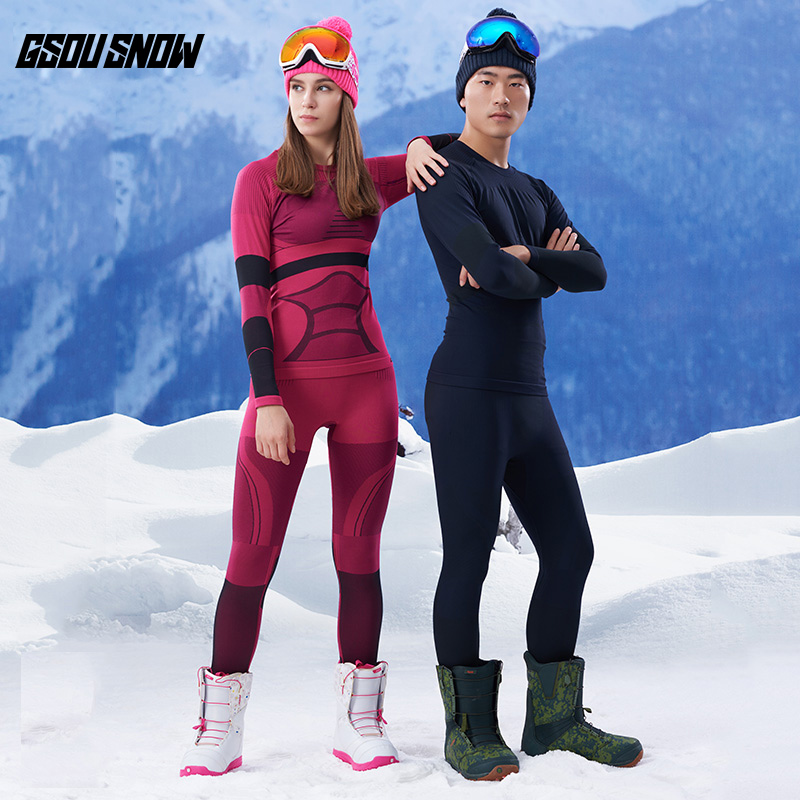 GSOU SNOW Brand Ski Underwear Women Men Long Johns Ski Suit Quick Dry Skiing Jacket Pants