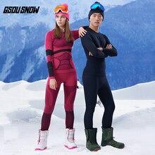 GSOU Снежный бренд, лыжное нижнее белье для женщин и мужчин, кальсоны, лыжный костюм, быстросохнущая лыжная куртка, брюки, термо дышащее зимнее пальто для улицы