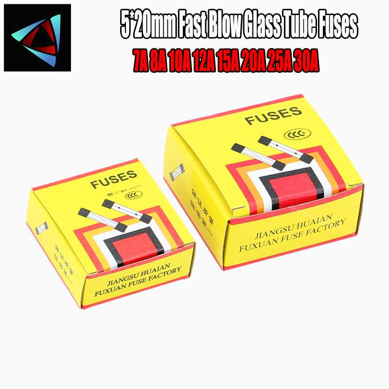 100pcs/lot One Sell 5*20mm Fast Blow Glass Tube Fuses 5x20 250V 7A 8A 10A 12A 15A 20A 25A 30A AMP Fuse
