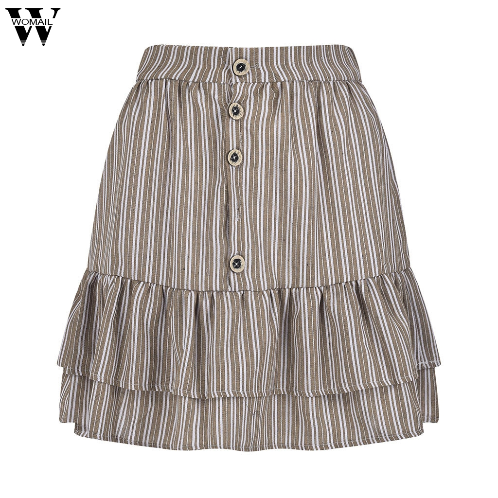 Womail Skirt Fashion Women's Summer Sports and Casual Buttons Buckle Ruffle Short A-Line Skirt 2020 Apr18 Dropship