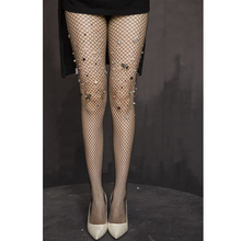 New Sexy Rhinestone Mesh Fishnet Pantyhose Black women tights Slim Tights Stockings rajstopy clothing Accessories