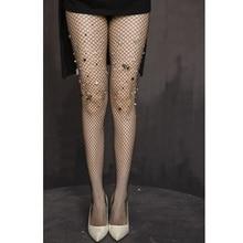 New Sexy Rhinestone Mesh Fishnet Pantyhose Black women tights Slim Fishnet Tights Stockings tights rajstopy clothing Accessories mesh panel tights