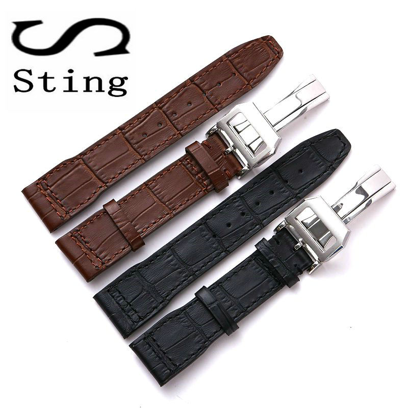 20 21 MM Genuine Soft Calf Leather Watch Band Strap for IWC Mark 17 Series Watches Accessories Wristband Deployment Buckle