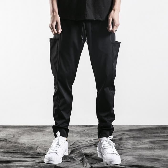 Черный личности моды большой карман штаны-шаровары Мужские Брюки Хомбре Брюки-Карго Облегающие штаны для мужчин мужские панталоны тонкий