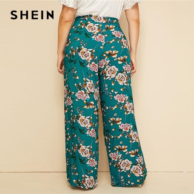 SHEIN Plus Size Green High Waist Floral Print Wide Leg Pants 2019 Women Summer Boho Casual Long Loose Plus Trousers Pants 3
