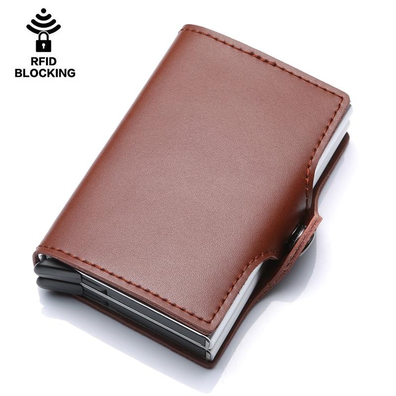 Porte-carte de crédit en métal de haute qualité automatique pop up portefeuille en aluminium antivol Rfid bloquant le porte-monnaie en cuir porte-monnaie - 2
