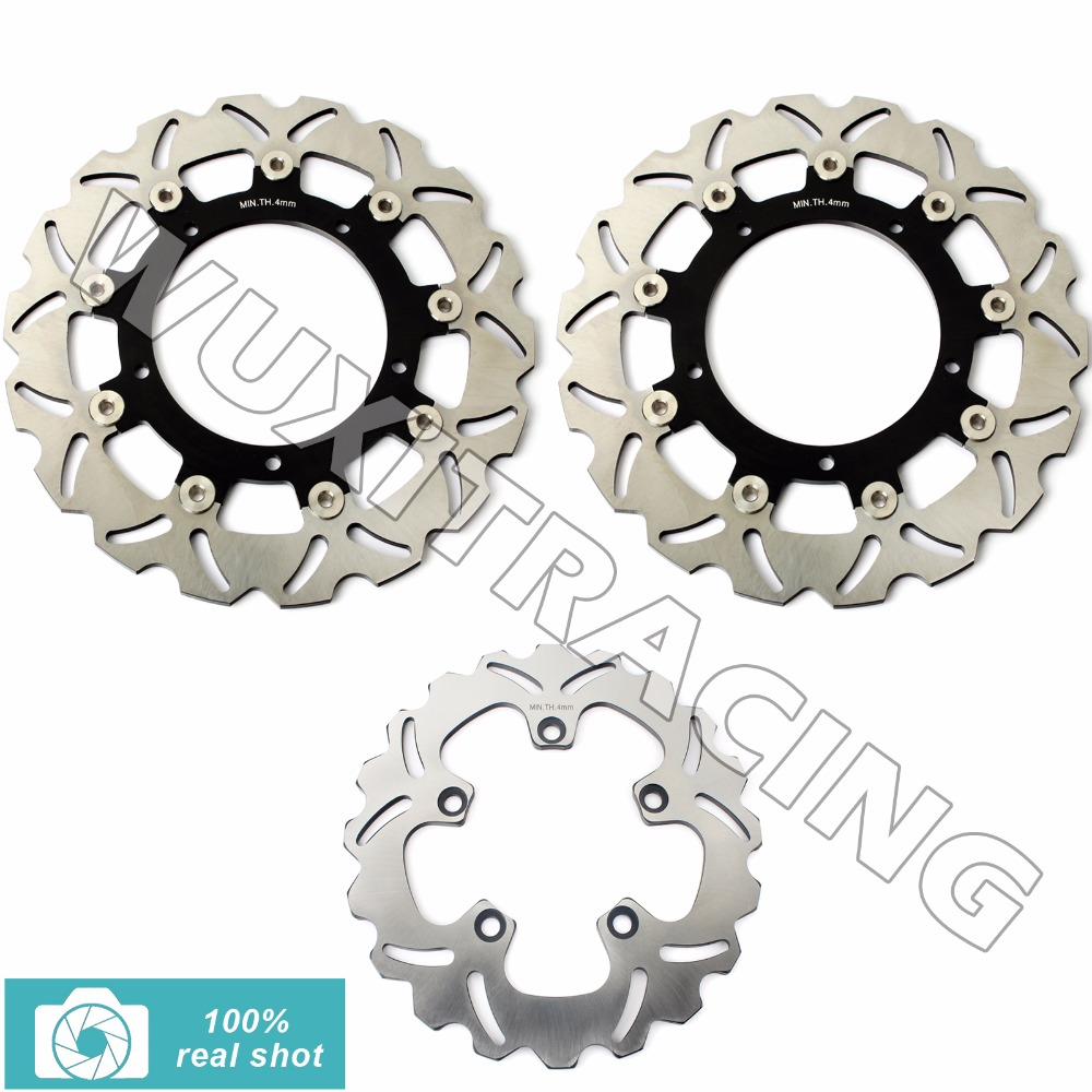 3Pcs New Full Set Front Rear Brake Discs Rotors for YAMAHA FZ6 FAZER S2 2004 2005 2006 2007 2008 MT03 660 06 07 08 09 10 11 mfs motor motorcycle part front rear brake discs rotor for yamaha yzf r6 2003 2004 2005 yzfr6 03 04 05 gold