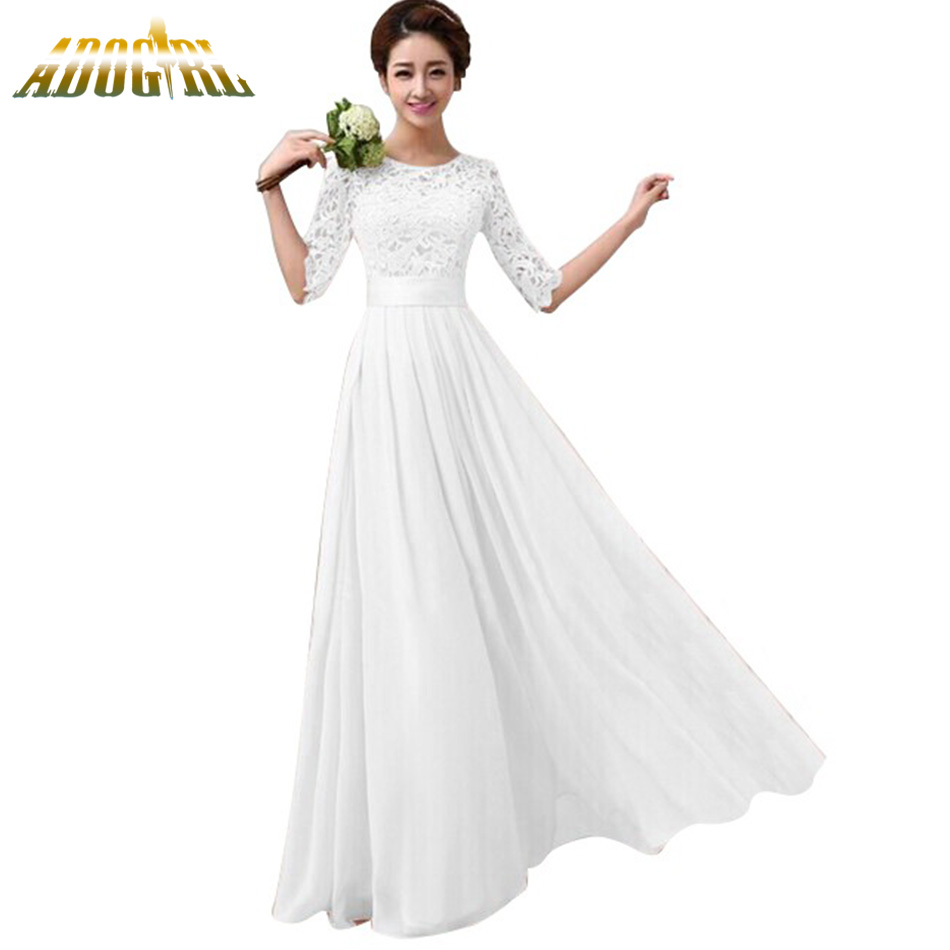 33f003ce79 Women White Chiffon Party Dresses Ladies Floor Length Pink Formal Dresses  Half Sleeve Plus Size Lace Maxi Dress XXL Robe Femme