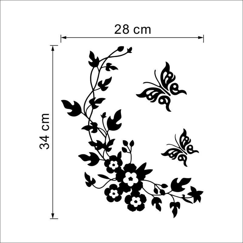 Borboleta Da Videira Da Flor Adesivos de Parede Decorativos Para Casa Decoração Para Banheiro Geladeira Da Cozinha Decoração Do Banheiro Mural Decalques de Vinil