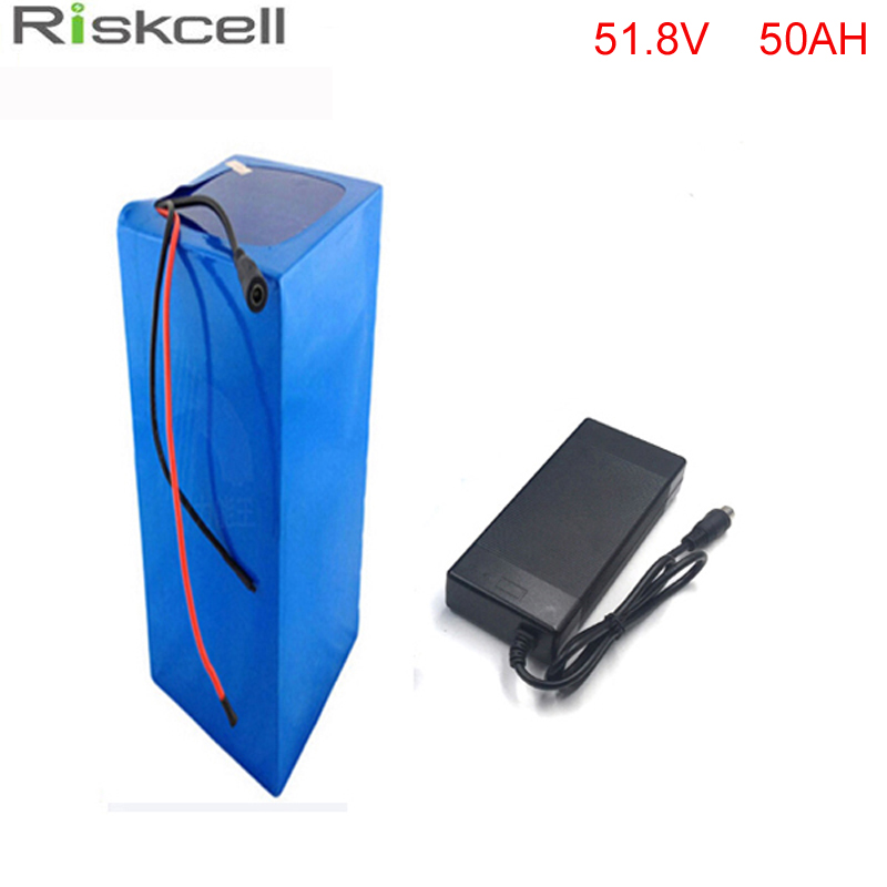 ebike lithium battery 51.8V 50ah bicycle 52V 1500W  electric bike battery for kit electric bike with BMS and free Charger 1800w lithium battery 48v 40ah for electric bicycle drive motor 48v with 54 6v charger and 50a bms 48v ebike battery diy bike