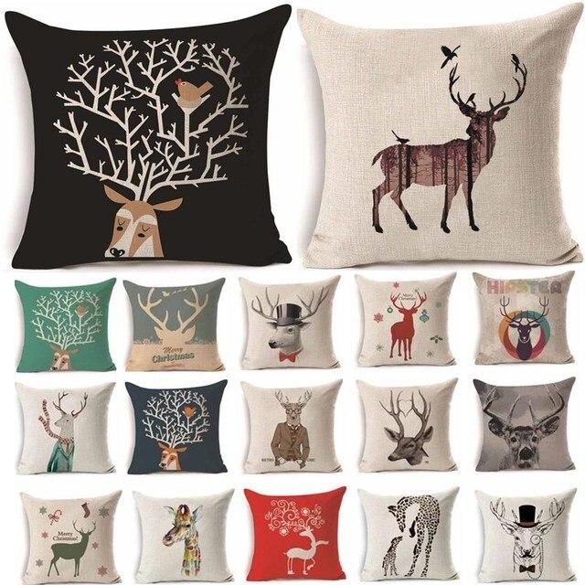 1 Pz 45*45 cm Deer Pattern Cotone Lino Throw Pillow Cuscino Auto Divano di Casa