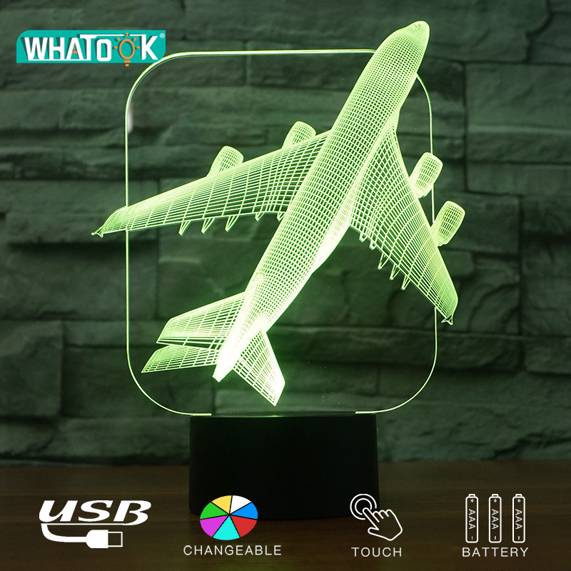 Led Lamps 2019 Latest Design Air Plane Model 3d Lamp Fighter Jet Remote Touch Switch 3d Usb Night Light Baby Bedroom Sleeping Lighting