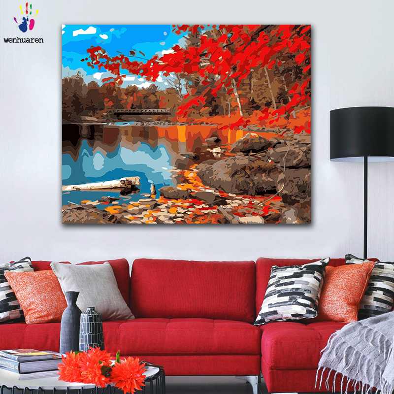 DIY Coloring paint by numbers Beautiful maple forest by the river figure paintings by numbers with kits 40x50 framed
