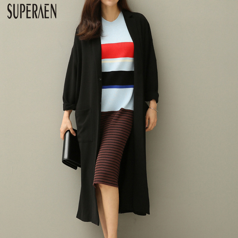 SuperAen 2019 Spring and Autumn New Korean Style   Trench   Coat for Women Solid Color Wild Casual Ladies Windbreaker