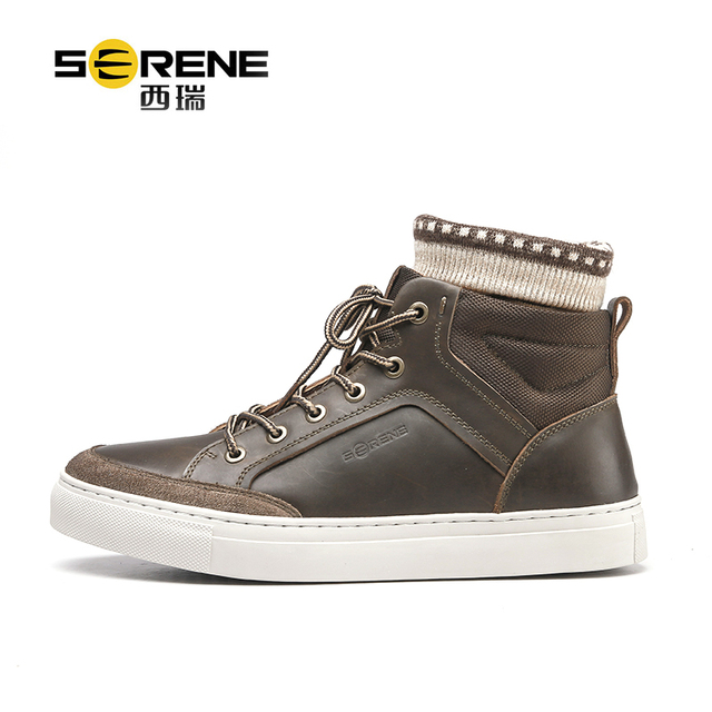 Boots For Men Leather Genuine Designer Shoes Lace-up Buffalo Causal Footwear Men's Classic Black Shoes 2018 Spring Big Size Shoe