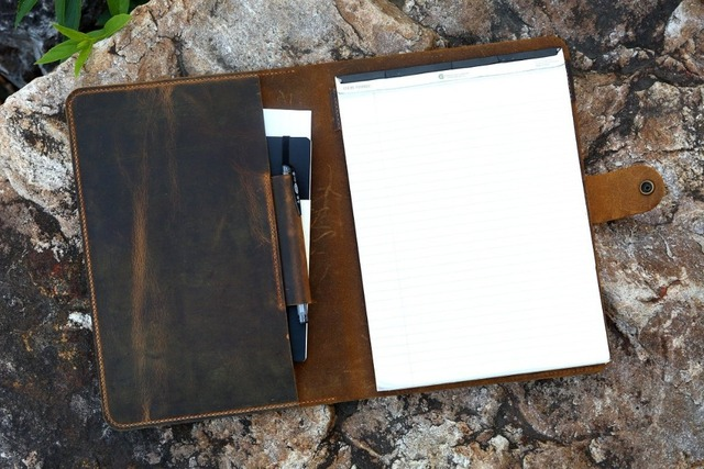 Travel rustic real leather business portfolio resume folder document