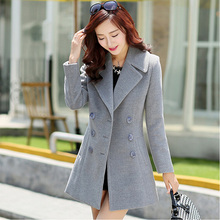 2016 New Fashion women Retro double-breasted cashmere winter jacket women coat and long sections woolen coat