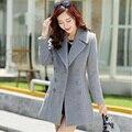 2016 Nuevas mujeres de La Moda Retro mujeres abrigo de cachemira chaqueta de invierno y largas secciones de doble botonadura abrigo de lana