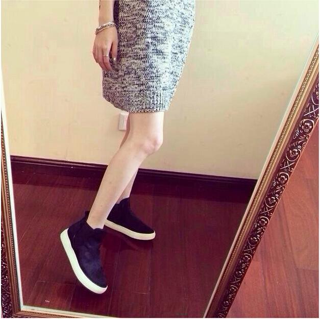 2015 Europa y América Del Otoño Invierno Nueva Moda de Crin Mocasines Elástica Tacón Bajo Zapatos Mujer Sapatos Femininos Envío Gratis
