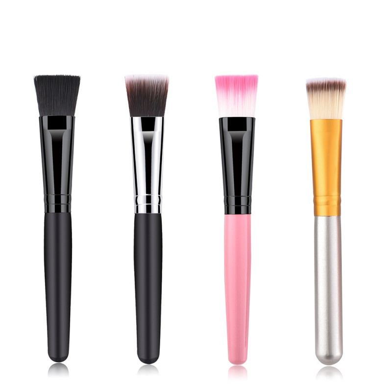 Pro Synthetic Hair Wood Handle Round Face Foundation Brush Tool Cosmetic Makeup Brush 4 Colors 1795
