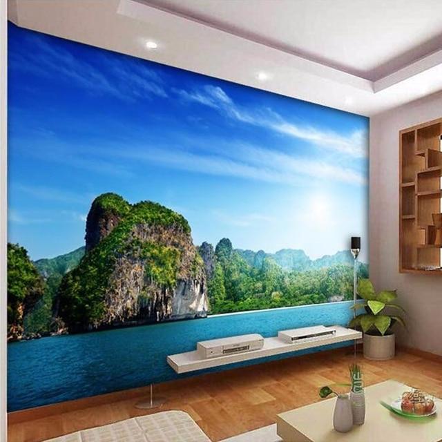 beibehang personnalis mur mural mer c te les paysage photo papier peint rev tement mural salon. Black Bedroom Furniture Sets. Home Design Ideas