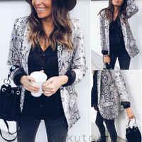 UNS Mode Frauen Herbst Kausalen Leopard Schlange Haut Druck Blaser Mantel Anzug Jacke Langarm OL Büro Blazer Biker Outwear top