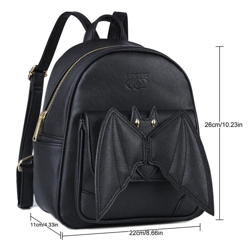 Image 2 - 2019 Gothic 3D Bat Mini Backpack For Girls Ladies Stylish Black 