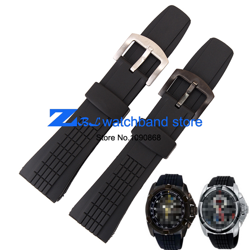 The silicone rubber watchband waterproof black sport wristwatches band for SRH013 26mm men's  watch strap bracelet