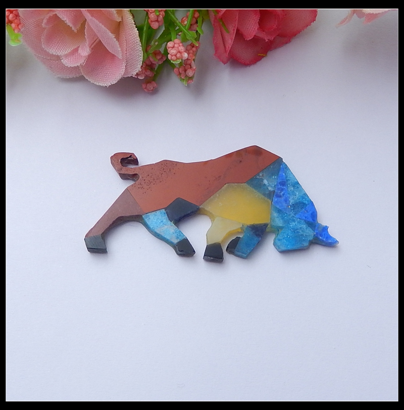 Handmade Animal DIY Jewelry Cabochon A Combination of Natural Stones Colorful Spring Pendant artwork Can Free drilling HoleHandmade Animal DIY Jewelry Cabochon A Combination of Natural Stones Colorful Spring Pendant artwork Can Free drilling Hole