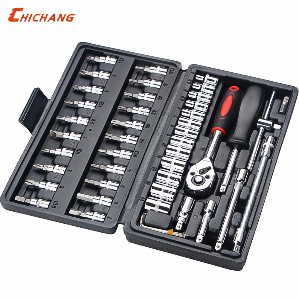 46pcs Repair Combination Auto Repair Kit Set Car Repair Special Ratchet Socket Wrench Set Universal Multi-function Hand Tool Kit