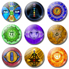 Chakras Decoracion Souvenir Fridge Magnet Yoga Totems OM Symbol 30MM Glass Dome Magnetic Refrigerator Stickers Home Decor