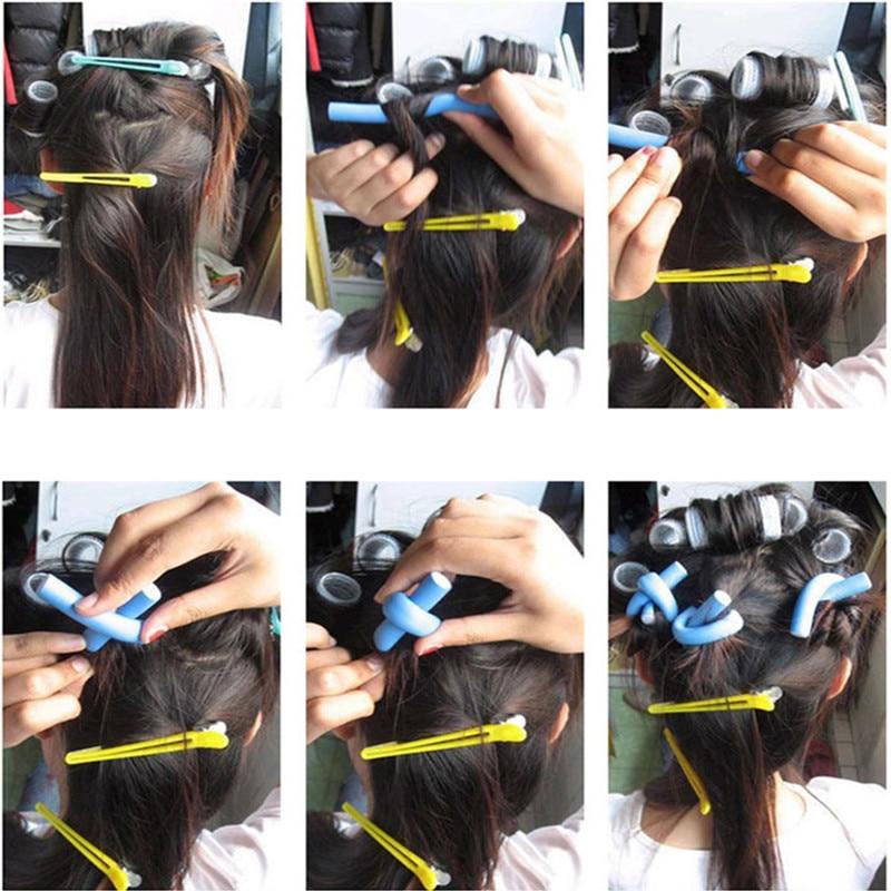 10 pcs/Lot Soft Hair Curler Roller Curl Hair Bendy Rollers DIY Magic Hair Curlers Tool Styling Rollers Sponge Hair Curling 6