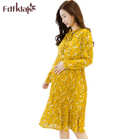 Fdfklak Yellow Home Floral Maternity Nursing Dress Long Sleeve Dress For Pregnant Women Maternity Dress Pregnancy Clothes F45
