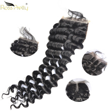 Ross Pretty Remy Peruvian Hair Deep Wave Human Lace Closure With Baby 4x4 Swiss Pre Plucking