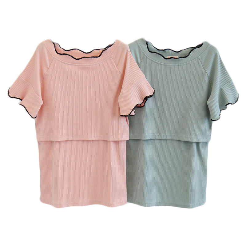 Pregnant Women T-Shirts O-Neck Nursing Short Sleeve Tee Solid Color Summer Maternity Tops Breastfeeding Clothes 2018 New ...