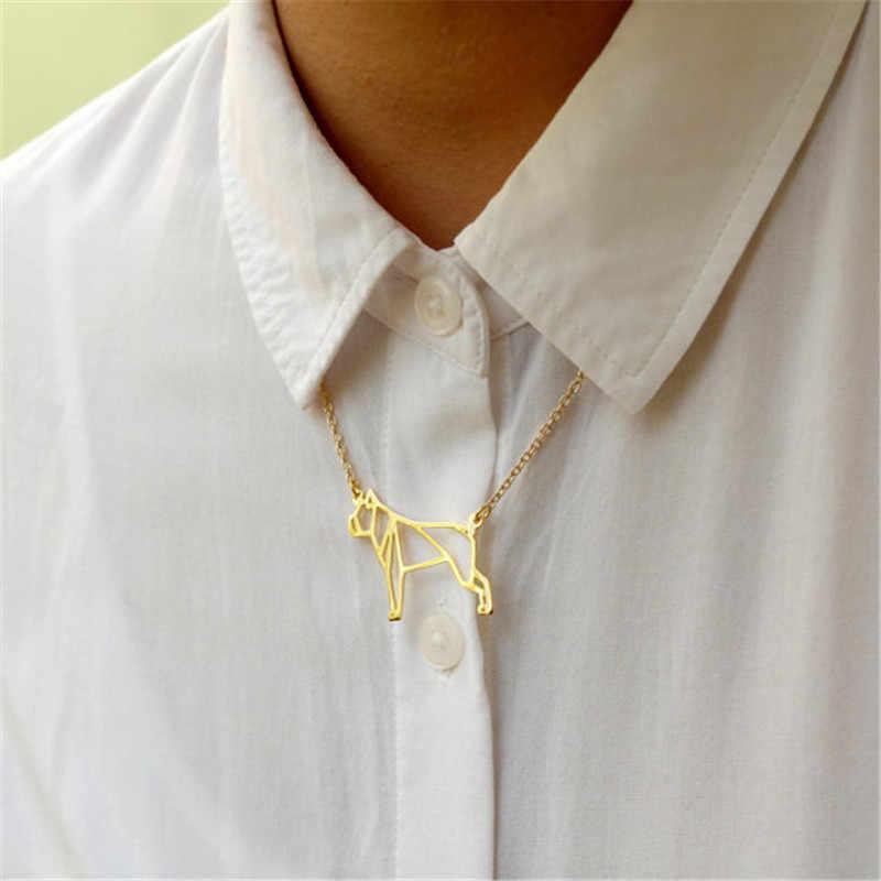 Słodkie zwierzę Origami bokser pies wisiorek Choker naszyjnik dla kobiet dziewczyny delikatny prezent na Boże Narodzenie biżuteria złoto srebro płyta