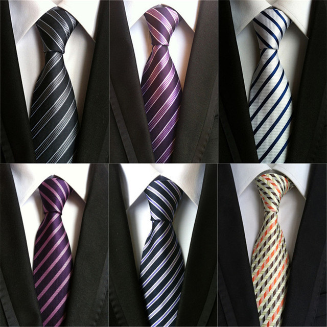 803ba2fb28ae CityRaider Brand Men's Slim Striped Ties Purple Silk Woven Party Neckties  Plaid Dots Man Tie for Wedding Business Male Tie A035