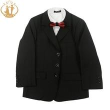 Nimble Fashion Boys Blazer Coat Vest Pants Striped Black School Boys Formal Suits costume enfant garcon mariage casamento