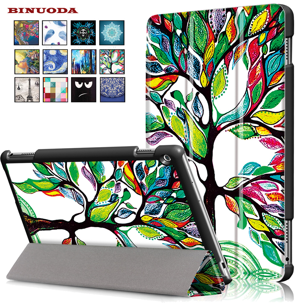 Folio Folding Painting Magnet Sleep Wake Up Function Leather Stand Case Smart Cover for Huawei Mediapad M3 Lite 10.0 Tablet coque smart cover colorful painting pu leather stand case for huawei mediapad m3 lite 8 8 0 inch cpn w09 cpn al00 tablet