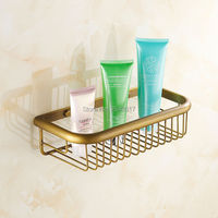 Wholesale And Retail Bathroom Accessories 30cm Basket Shelf Wall Mounted Copper Brass Classic Retro Shower Shampoo
